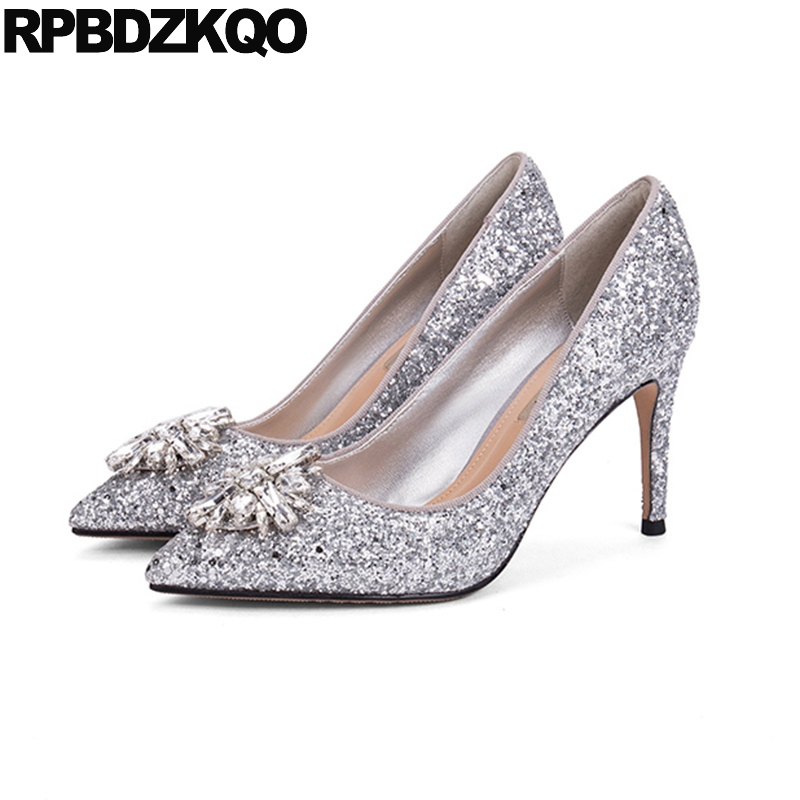 Plus Size Silver Bling Wedding Shoes 10 42 Ladies 2017 Stiletto Sparkling Pointed Toe Glitter 4 34 Bride 3 Inch 33 High Heels 4 34 small size gold shoes wedding pointed toe 7cm 3 inch satin high heels stiletto 33 flower pumps ladies colourful embroidery