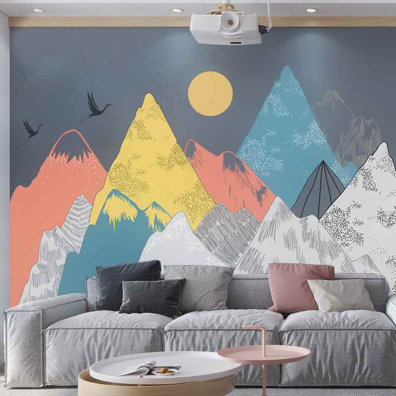 Image 2 - Creative Colored Mountains Sunset Pattern Wall Stickers Woodland  Tribal Living Room Wall Decal Vinyl Art Wallpaper DecorationWall  Stickers