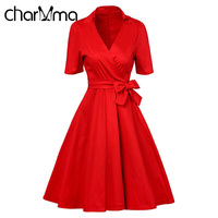 CharMma Women Vintage Dress Retro Rockabilly Pin Up 50s 60s Party Dress Solid Red Black Audrey