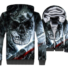 Skull Printed 3D Hoodies Punk Style Streewear 2019 Autumn Winter Warm Mens Jacket Gothic Cool Coat Casual Brand Sweatshirts