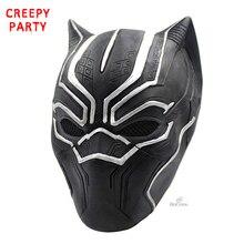 Черный маски Пантеры фильм роли косплэй Костюм взрослых Хэллоуин Маска Реалистичные для мужчин's латексная маска для вечеринки