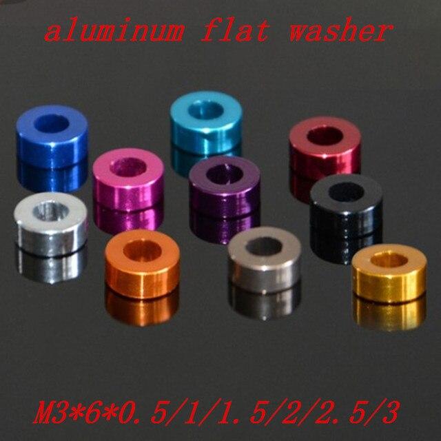 Joint de lave-linge en aluminium m3   M3 * 6*0.5/1/1.5/2/2.5/3mm M3 joints plats en aluminium anodisé coloré 20 pièces/lot