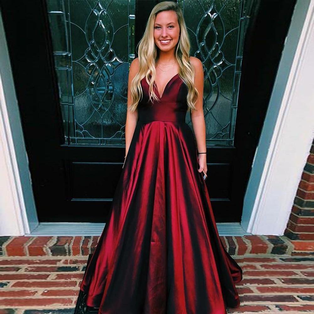 Burgundy Long   Prom     Dress   with Pockets Gorgeous Straps V-neck Taffeta Evening Red Dark Green Formal   Dresses