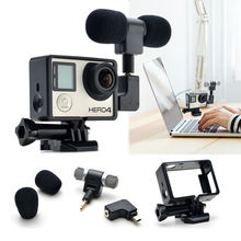 High selling 3 in 1 Gopro Accessories  Adapter and Standard protective Frame Case with Stereo Microphone For Hero 3+ 4