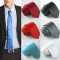 2015 Новый Стиль Моды! формальные Свадебная Вечеринка Жених мужская Сплошной Цвет Тонкий Обычная Мужчины Галстук 6 Цветов Дополнительно