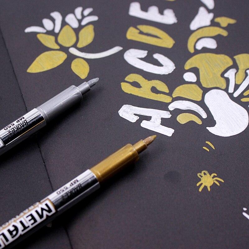 2 Pcs Paint Pen Metal Color Pen Technology Gold And Silver 1.5mm Up Paint Pen Student Supplies MP550 Marker Pen baoke paint pen diy album essential colorful graffiti pen sign pen multi function high quality color paint marker pen etui 8pcs