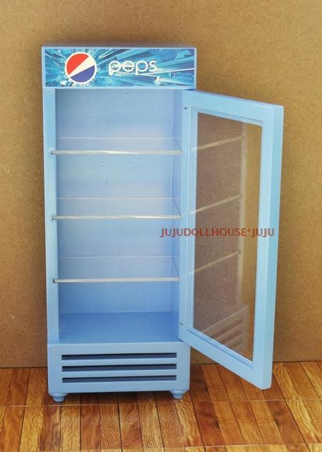 Mini dollhouse  Clay Scene with mini-shop refrigerator model (empty box)