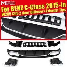 Fits For Benz W205 C63 Diffuser+Exhaust Tips 2 door Rear Bumper Diffuser Lip 4-Outlet Exhaust Endpipe C180 C200 C250 C300 2015+