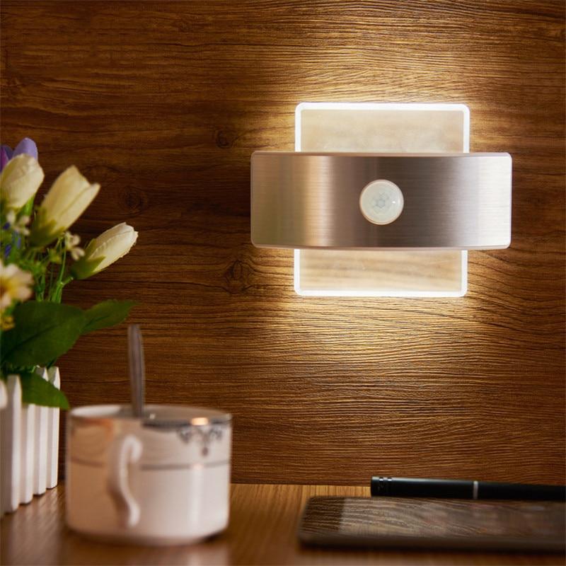Creative LED Wall Lamp with Motion Sensor Bedroom Bedside ...
