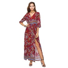 ФОТО cotton dress plus size clothes casual women summer loose long dress boho maxi floral dress for beach 2018 tunic robe femme 010g