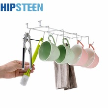 HIPSTEEN Multi-function Coffee Cup Holder 8 Hooks Cup Kitchenware Drying Rack Kitchen Cupboard Storage Shelf – Silver