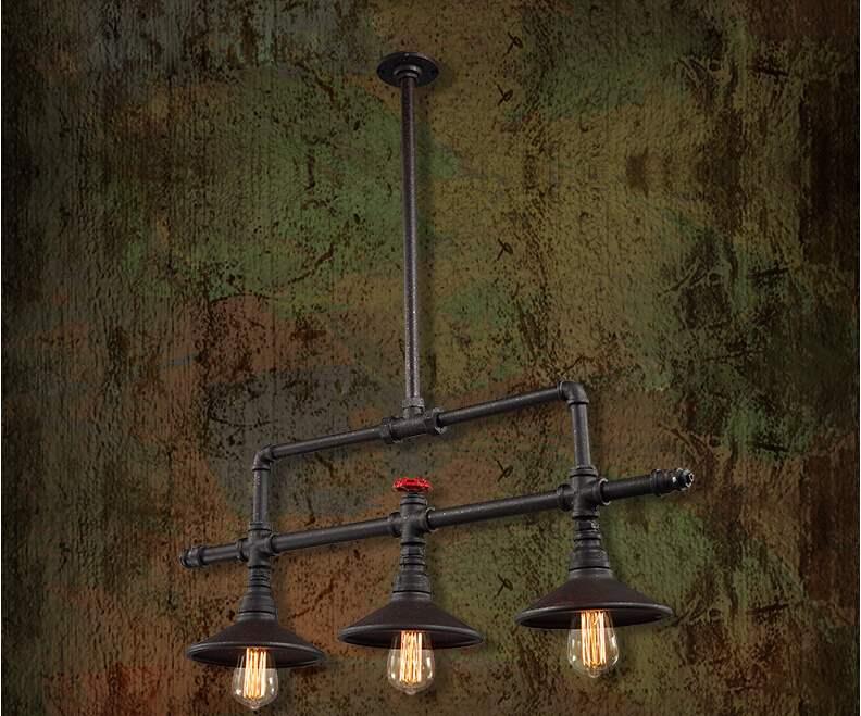 Edison Industrial Retro Loft Style Vintage Pendant Lights Fxitures 3 Lights Bar Dinning Room Rope Pipe Lamp Suspension Luminaire Pendant Lights     - title=