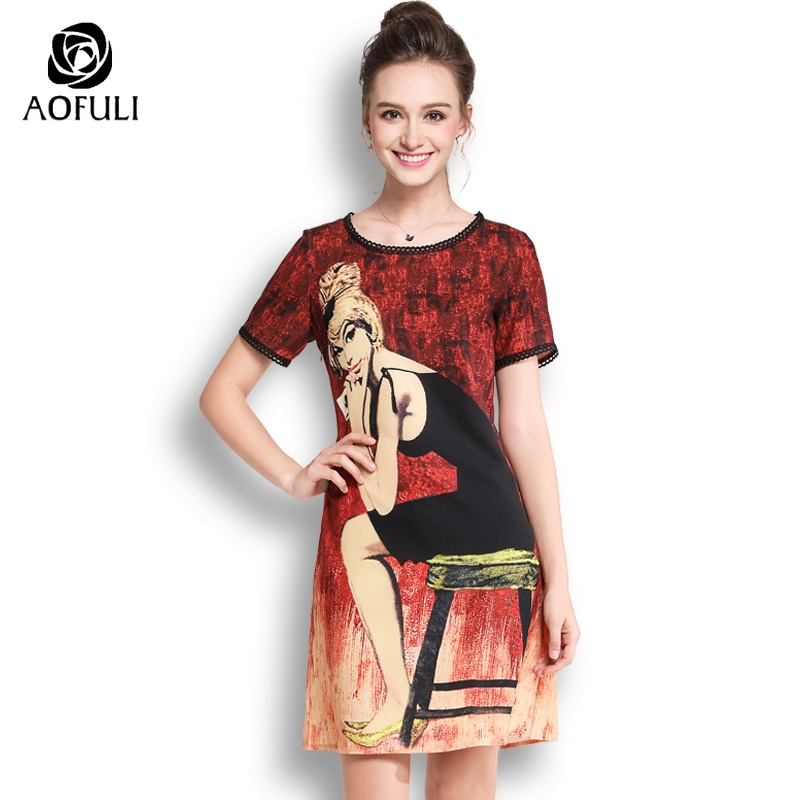 2836bbea2b Detail Feedback Questions about AOFULI L XXXL 4XL 5XL Plus Size Summer  Print Dress Lady Character Pattern Short Sleeve Casual Dress Fashion Brand  Design ...