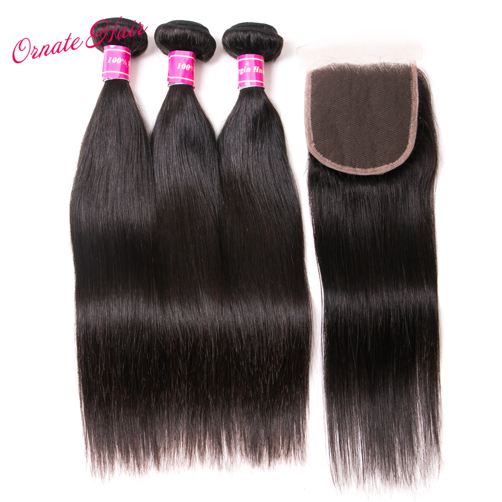Ornate 3 Bundles Straight Human Hair Bundles With Closure Brazilian Hair Weave Bundles With Closure Free Part Hair Bundles