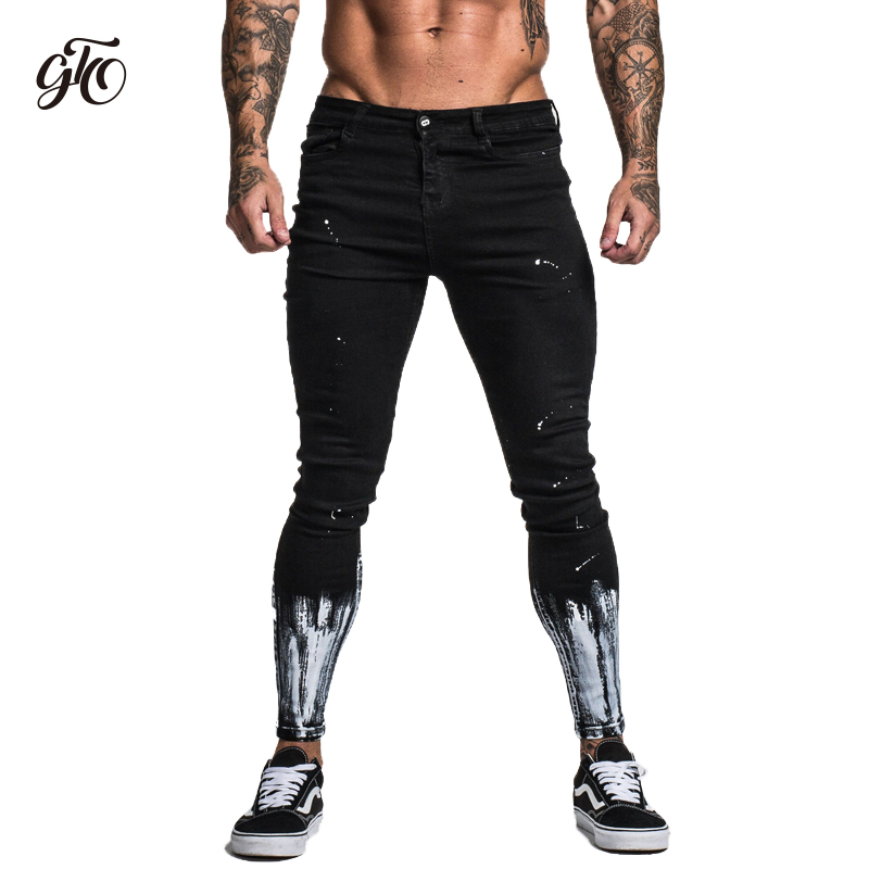 Gingtto Ripped   Jeans   For Men Skinny Slim Fit Ankle Tight Light Weight Super Stretch Cotton Spandex Big Size Print   Jeans   zm40