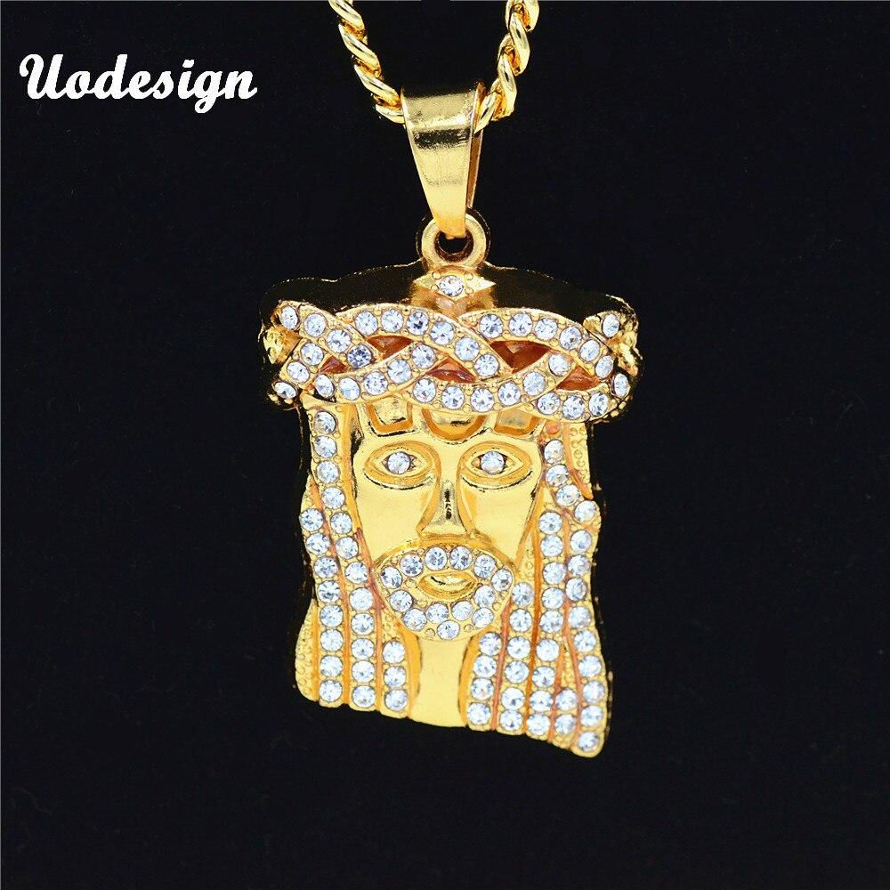 Uodesign HIP Hop Iced Out Kristall JESUS Christus Stück Kopf Gesicht Anhänger Halsketten Gold Kette für Männer Schmuck