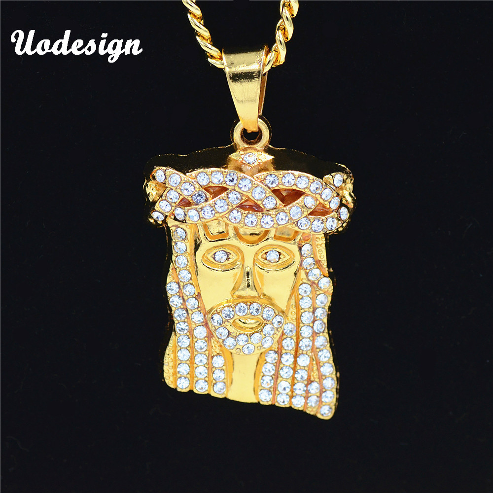 Uodesign HIP Hop helado de Jesús Cristo pieza cabeza cara colgantes collares de cadena de oro de la joyería de los hombres