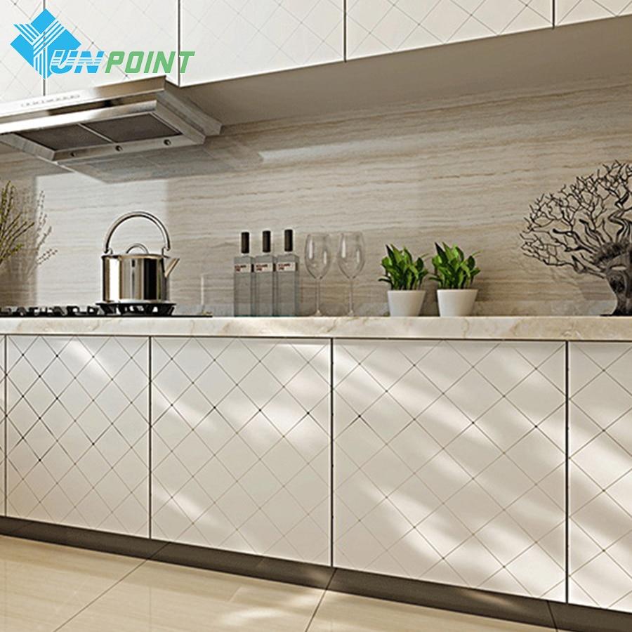 60cmX5m Pvc waterproof self adhesive film gold grid/silver line vinyl wallpaper kitchen cabinet desktop door decorative sticker drawer