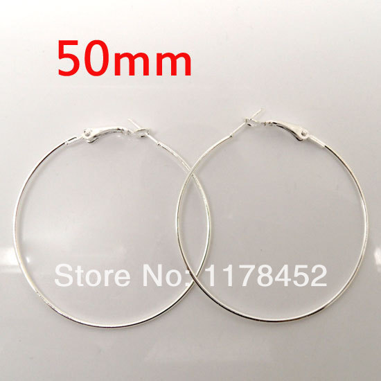30 Pcs Silver Plated Basketball Wives Earring Hoops Dangle Drop 50mm Dia.(W01165 X 1)