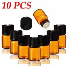 New 10PCS/lot 2ML Mini Amber Glass Essential Oil Bottle Empty Sample Vials Brown Refillable Bottles With Orifice Reducer & Cap