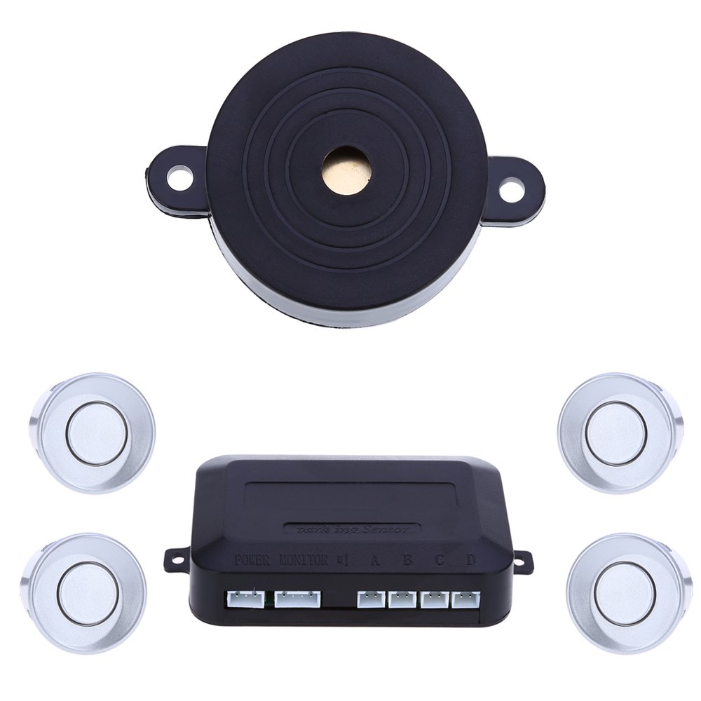 imágenes para Lo nuevo Parktronic sensor Del Revés Del Coche de 4 Sensores de Aparcamiento de Coches Espejo de Rearview Del Radar de Alerta de Sonido Conjunto detector de coches-plata
