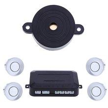 Newest Parktronic 4 Car Parking Sensors sensor Car Backup Reverse Radar Rearview Mirror Sound Alert Set car detector -silver