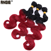 Anige 16 20 Inch 300Gram/lot Synthetic Hair Extensions Black to Red Ombre Body Wave Hair Bundles