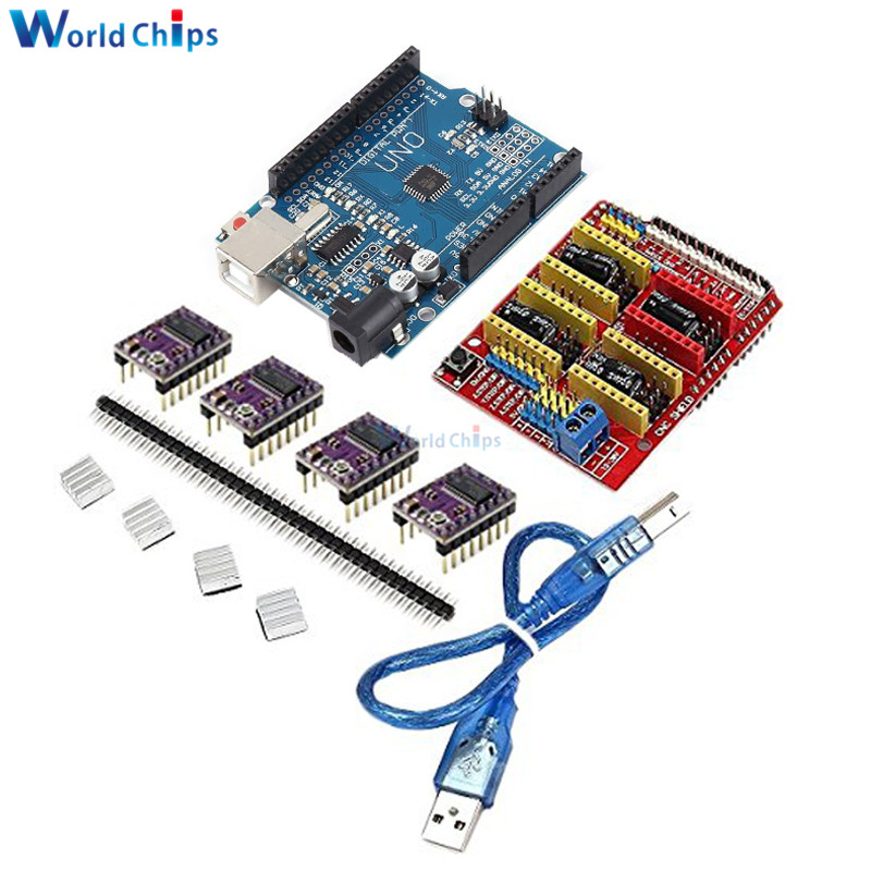 CNC Shield V3 Engraving Machine 3D Printer Module + 4pcs A4988/DRV8825 Driver Expansion Board for Arduino UNO R3 with USB Cable