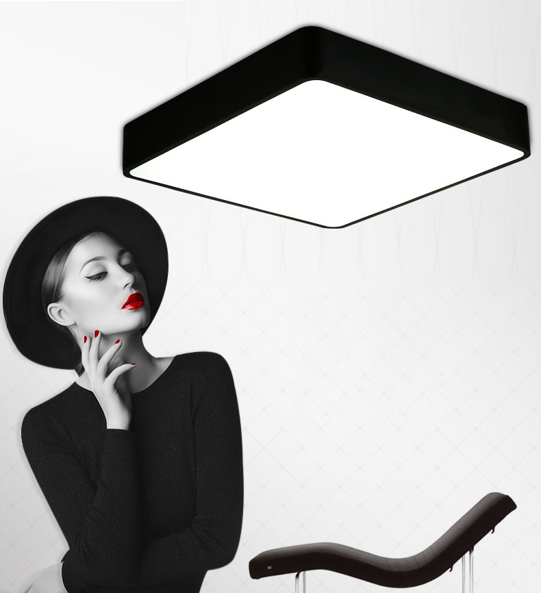 Modern square LED panel surface mounted ceiling light White/Black bathroom AC110-240V luminarias para ...