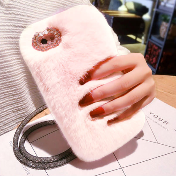 L-FADNUT Cute Fur Fluffy Phone Case For iPhone X Xr Xs 11 Pro Max 5 5S SE Luxury Diamond Back Shell For 6S 6 7 8 Plus Girl Cover