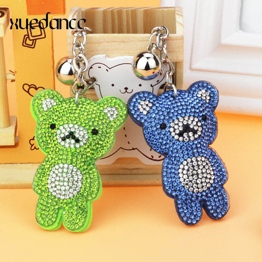 Creative cartoon small bear with full Rhinestone Keychain for lady bag pendant accessories