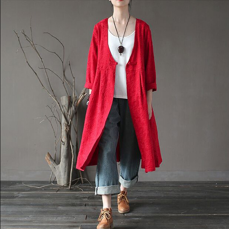 Women 2017 New Fashion Autumn Spring Loose Trench Coat Ladies Cotton Padded Overcoat Outerwear Retro Single Breasted Overcoat
