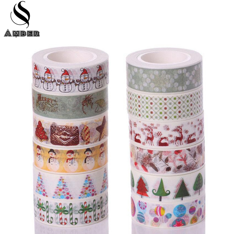 15mm*10m Kawai Christmas DIY Washi Tapes Adhesive Masking Tape Set Stationery Scrapbooking Album Notebook Adesiva Decorative JD9