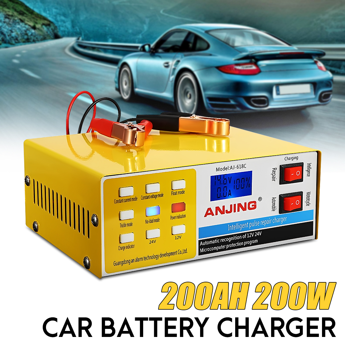 250V 12/24V 200AH Pulse Repair Car Battery Charger Yellow Full Automatic Intelligent PWM 5Charging Modes Digital Pulse Repairing 350w 12v 24v 200ah portable electric car emergency charger booster intelligent pulse repair type abs lcd battery charge 2 modes