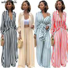 WHOHOLL Striped Print Two Piece Set Shirts+pants spring Plus Size 3XL Clothing Sets Maxi Cardigan Pants Suits Loose Casual dress