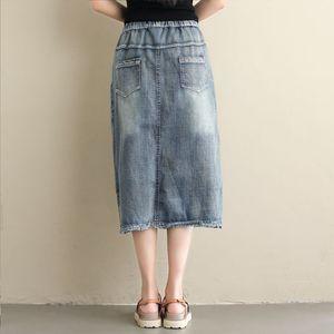 Image 4 - NYFS 2020 חדש קיץ בציר נשים ארוך ג ינס חצאית רקום ארוך חצאיות בציר ג ינס מכפלת פיצול עיפרון חצאיות