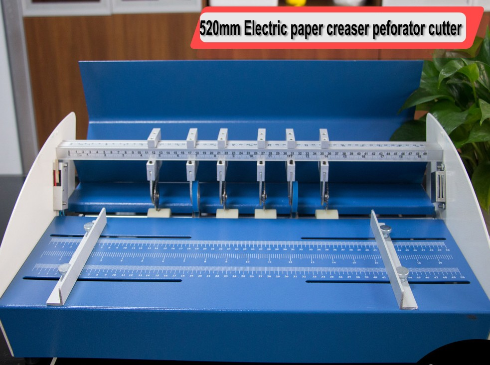 Electric Paper Creaser Perforator Cutter 3 in 1 combo 520mm + 4 sets additional perforating bladesElectric Paper Creaser Perforator Cutter 3 in 1 combo 520mm + 4 sets additional perforating blades