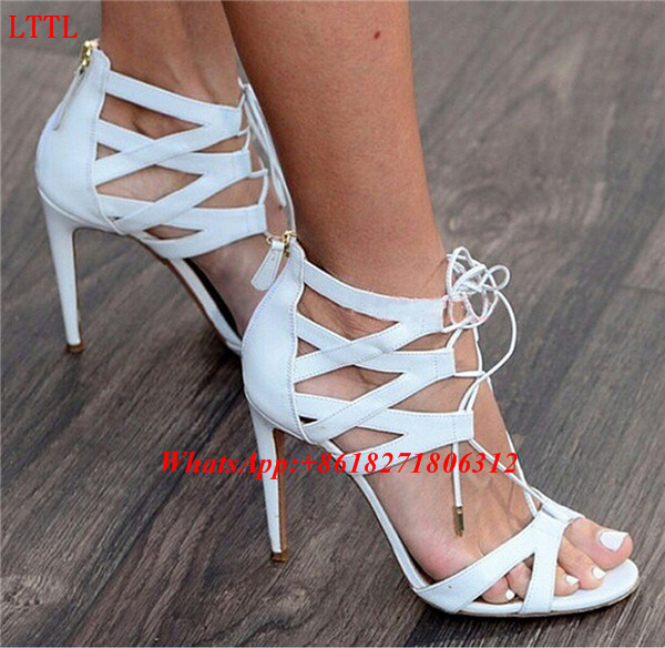 Stylish 2017 Sexy Peep Toe Lace Up Ladies Stiletto Party Shoes Cut Out Caged High Heeled Sandles Suede Gladiator Strappy Sandals