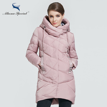 Athena Special 2018 New Winter Womens Bio Down Jackets Hooded Thick Warm Medium Length Parkas Brand Women Overcoat High quality