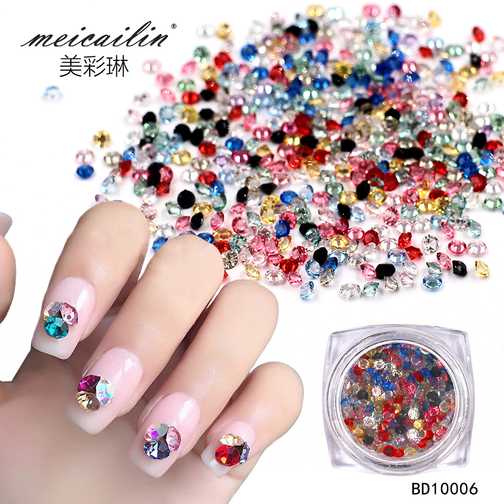 Meicailin Wholesale 150 pcs /pack Crystal Multi-color 3D Nail Art Decorations Rhinestones For Nails Stone DIY Micro Diamond