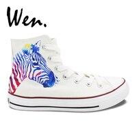 ウェンオリジナルハンドペイント靴デザインカスタムゼブラパターン男性女性の白ハイトップキャンバススニーカー用ギフト