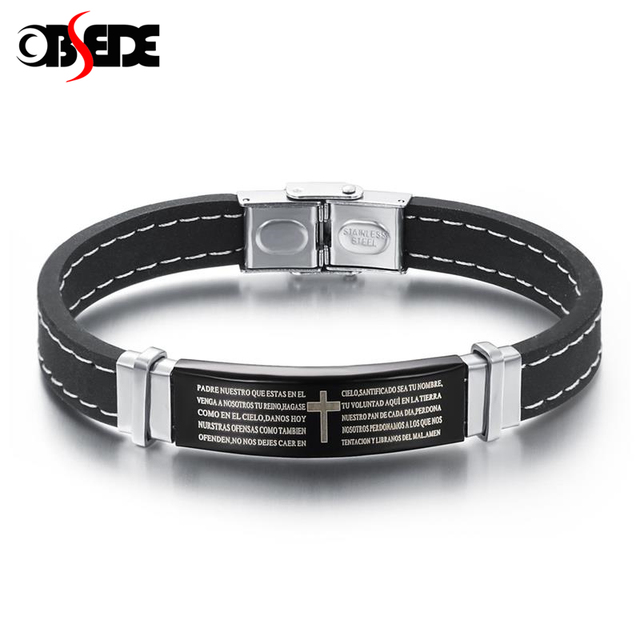 OBSEDE Punk Stainless Steel Leather Bracelet The Lords Prayer Bible Letter Cross Silicone For Men Gift