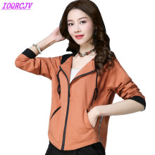 Short jacket women 2018 spring hooded Outerwear pure cotton coats Plus