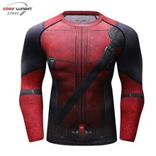 Fun Deadpool 2 3D Printed T shirts Men Compression Shirt 2018 New Arrival Comics Cosplay Costume Clothes Long Sleeve Tops Male(China)