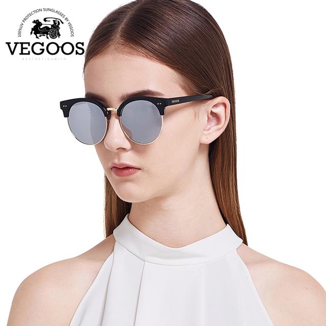Vegoos luxo marca designer polarized óculos de sol das mulheres óculos de sol da mulher do vintage flash espelho moldura redonda new collection #9067