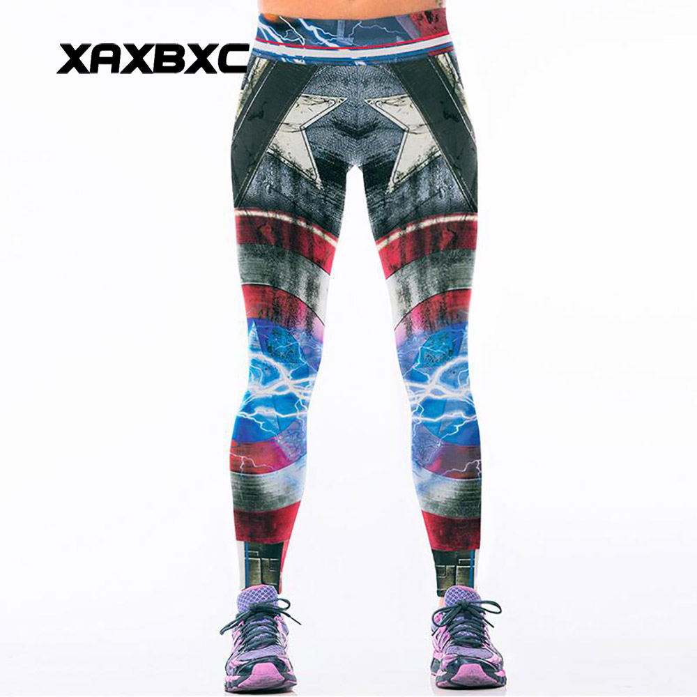 091 High Waist Workout Silm Fitness Women   Leggings   Pants Trousers Sexy Girl Fashion The Avengers Captain America Flash Prints