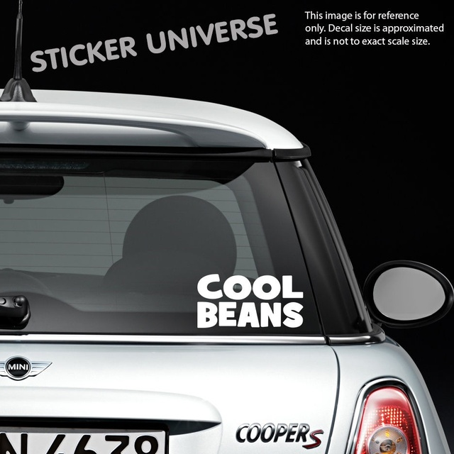 Car styling for cool beans funny die cut 3 5x7 vinyl decal bumper sticker
