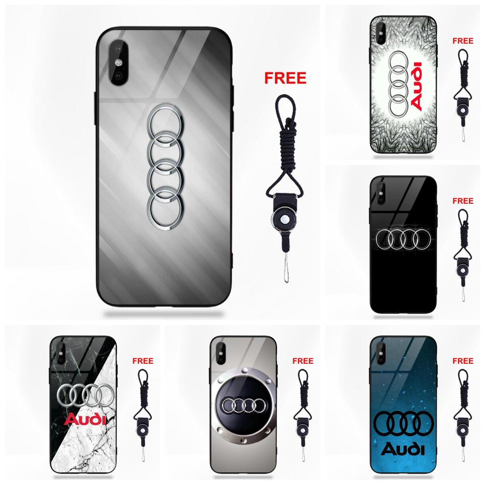 US $3 99 |Vvcqod 2018 New Audi Logo Marble For Apple iPhone 5 5C 5S SE 6 6S  7 8 Plus X XS Max XR Soft TPU Frame Tempered Glass Cover Cases-in