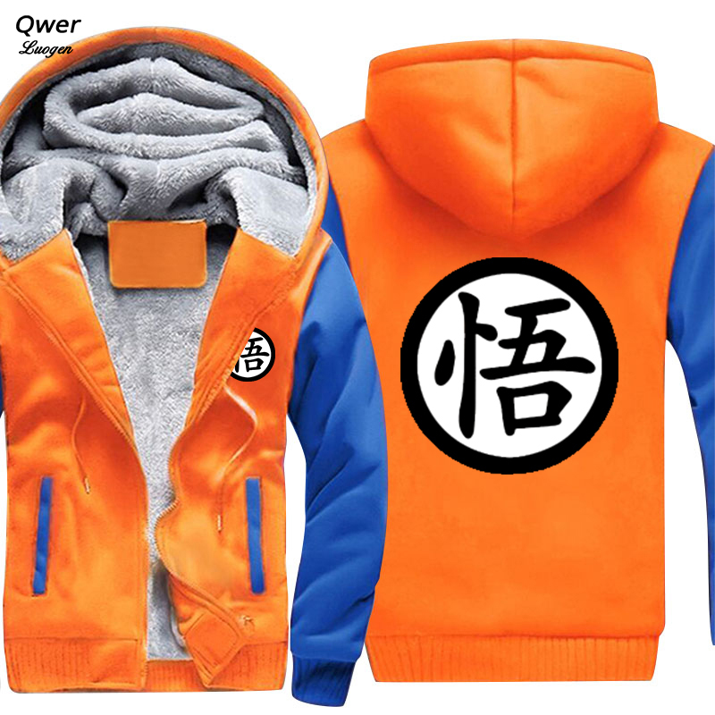 US size Men Women New Design Anime <font><b>Dragon</b></font> <font><b>Ball</b></font> Heroes <font><b>Z</b></font> GT <font><b>Goku</b></font> Cartoon <font><b>Jacket</b></font> Thicken Hoodie Zipper Winter Fleece Unisex Coat image