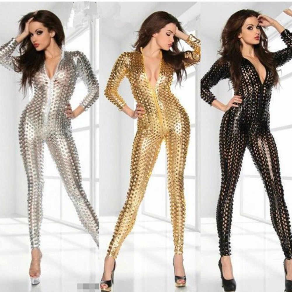 468d9bda2f02 Dower Me Club Jumpsuits Gold Black Sliver Women Jumpsuit Bodysuit Wholesale  Price Sexy Vinyl Women Catsuit